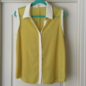 Ya Los Angels Size L Yellow/Green White Trim Tank